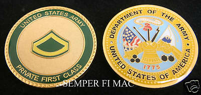 Private First Class Pfc Challenge Coin E-3 Us Army Vet Promotion Boot Camp Gift