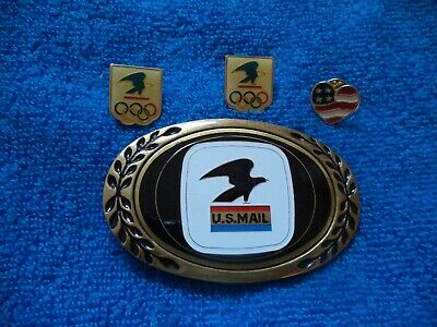 1980 US Mail Solid Brass Belt Buckle Heritage Aminco Buckles with 3 Pins