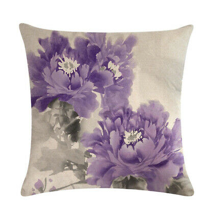Ink Flower Home Decoration Linen Cotton Throw Pillow Case Vintage Cushion CoverL