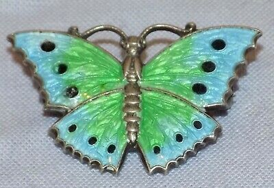 Antique Hallmarked Sterling Silver Handpainted Vitreous Enamel Butterfly Brooch