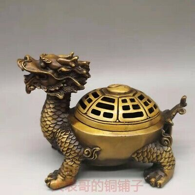 Chinese Exquisite hand-carved Dragon turtle carving brass incense burner