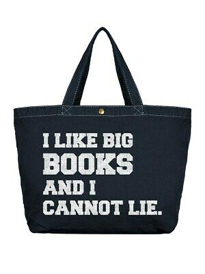 Shopper Bag I Like Big Books & I Cannot Lie Large Dark Denim Canvas