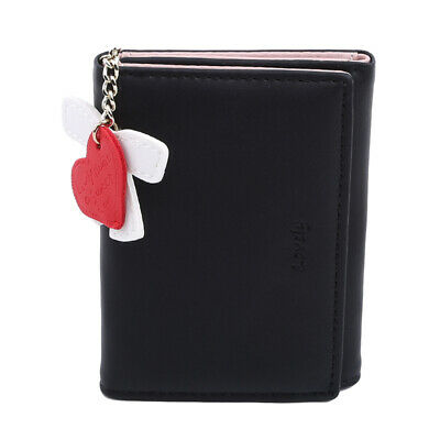 Trifold Mini Slim Lovely Small Purse PU Leather Women Coin Card Clutch Wallet L