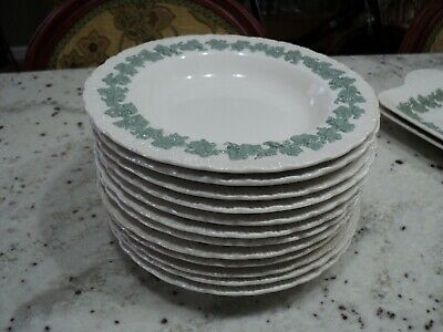 Wedgwood Queensware Shell Edge Celadon Green On Cream Embossed 12) Soup Bowls