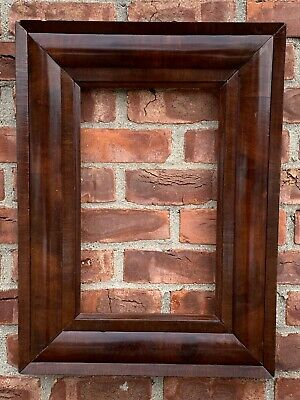 C1860's Mahogany Veneer Reverse Cove New York Empire Ogee Picture Frame
