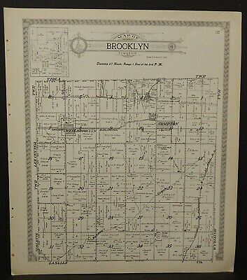 Illinois Lee County Map Brooklyn or Alto Townships 1921 Double Side J25#55