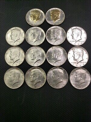 LOT OF 14 KENNEDY Mint State HALF DOLLARS 1964, 1964-D 90% SILVER