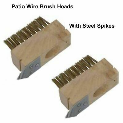 2 X Patio Drive Block Paving Wire Head Brush Metal Rake Out Spike Grout  CT3280