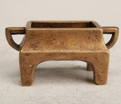 Chinese Bronze Handmade Carving Small Censer Collection Decoration