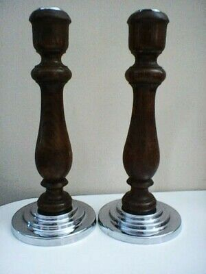 Pair of Turned Wooden Candlesticks with Metal Bases and Candle Inserts 24cm Tall