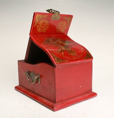 Chinese Red Leather Wood Handmade Carving Cosmetic Box Collection Decoration