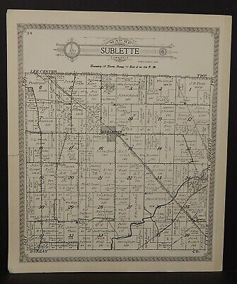 Illinois Lee County Map Sublette Township 1921 J25#62
