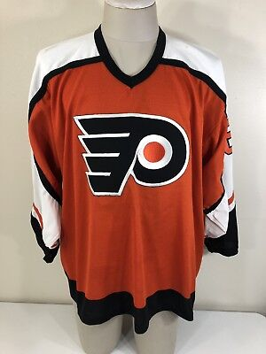VTG 90s ERIC LINDROS CCM Philadelphia Flyers Orange Jersey Men's Large L NHL