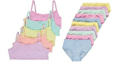 GIRLS 5 x FIRST BRA CROP TOPS or 10 PAIRS SHORTS / KNICKERS  - PASTEL 9 10 11 12