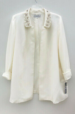 NEW Women's Plus Size Tahari Ivory Textured Topper Jacket Blazer Size 18W