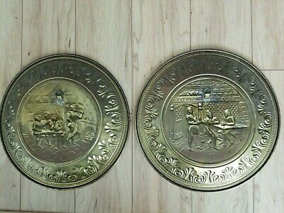 2 Vintage English Brass Wall Decor Hangings Plates Round Embossed Pub Scenes