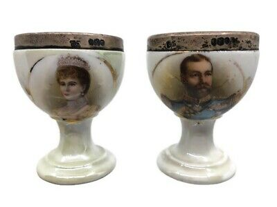 1911 Sterling Silver King George V Queen Mary Coronation Egg Cups Robert Pringle