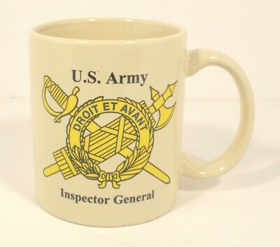 Vintage US Army Inspector General porcelain coffee mug cup