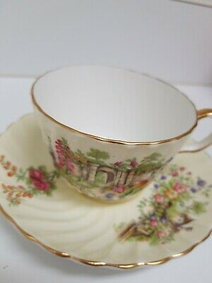 Aynsley Fine Bone China Cup & Saucer Ribbed - Garden and Manor House Scene C1124