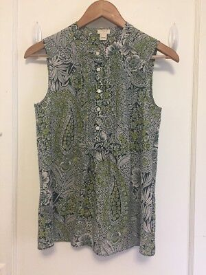 fd322153383d1f J Crew Floral Paisley Printed Tuxedo Cami Sleeveless Blouse Button Up size 2