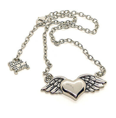 133f1a77c Rock Rebel Silver Alloy Heart Angel Wings Pendant Fashion Necklace 18 inches