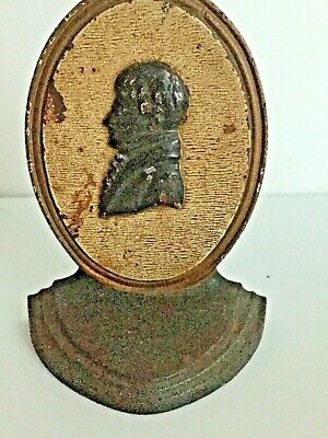 "Vtg Cameo of Colonial Era Gent Cast Iron Bookend/Door Stop 5 1/4"" x 3 3/4"" x 3"""