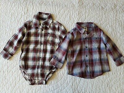 NEW! CARTERS Baby Boy's Button-Down Bodysuit 9M & Old Navy Shirt 6-12M Plaid NWT