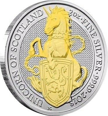 2018 Great Britain 2 oz Silver Queen's Beast Unicorn of Scotland 24k Gold Gilded
