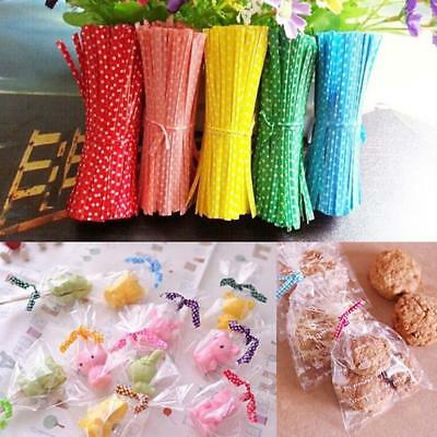 Chic 100 Pcs Metallic Twist Ties for Candy Lolli Cake Cello Bag Party/HOT