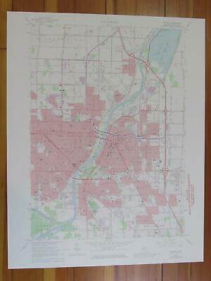 Saginaw Michigan 1974 Original Vintage USGS Topo Map