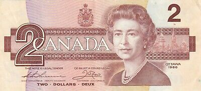 1986 $2 Dollar Bank of Canada Banknote EGN3177755