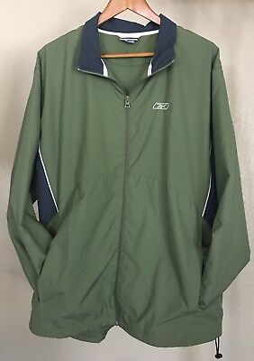 ed9fe3c1bfc07 RETRO VINTAGE 80'S 90's Reebok Windbreaker Mens XL Green Color Block Full  Zip