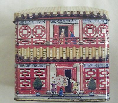 Chinese Temple House empty confectionery tin.Made in Hong Kong.