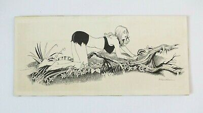 Original Pin Up Ink Drawing By Simon Vanderlaan Waif With A Wildflower SV30