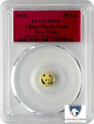 2018 10 Yuan China Gold Panda Coin 1 Gram .999 Gold PCGS MS70 First Strike