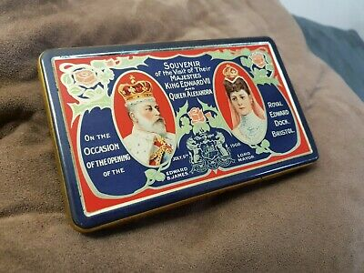 Antique Fry's Chocolate Tin Opening of Bristol Dock by King Edward VII 1908