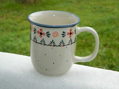 Polish Pottery Coffee Mug with Red White & Blue Pattern by Ceramika Wiza - New