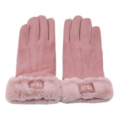 Solid Color Womens Thermal Lined Elegant Gloves Winter Warm Touch Screen Glove B