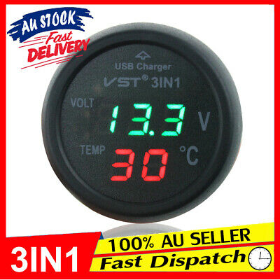 12V Car Power Cigarette USB Charger Thermometer Voltmeter Digital Socket Lighter