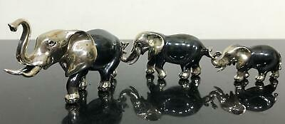 3pc Solid 5OZ Sterling Silver Elephant Family Art Sculpture Miniature Figurine