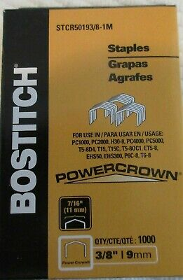 1 x  Bostitch STCR5019 Tacker Staples  3/8 / 9mm  Power Crown 1000/Box Free Post