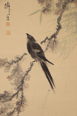 "JAPANESE HANGING SCROLL ART Painting ""Black Bird "" Asian antique  #E6528"