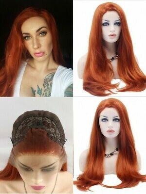 """AU 24"""" Natural Straight Copper Red Heat Resistant Hair Lace Front Wig Cosplay"""