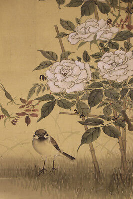 "JAPANESE HANGING SCROLL ART Painting ""Bird and Flower"" Asian antique  #E6040"