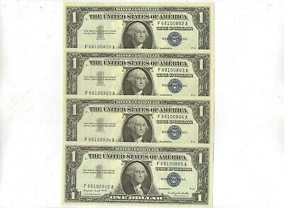 Four Consecutive 1957 One Dollar Silver Certificates Crisp Uncirculated