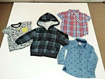 4 X Size 1 Boys Top, Long & Short Sleeve Shirt & Jacket With Hood