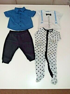4 X Size 0 Boys Pants, Short Sleeve Top,  Short Sleeve Shirt, Romper Suit