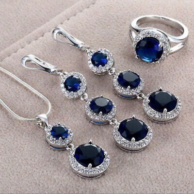 Fashion Women 925 Silver Cut Sapphire Ring Necklace Pendant Wedding Jewelry Set