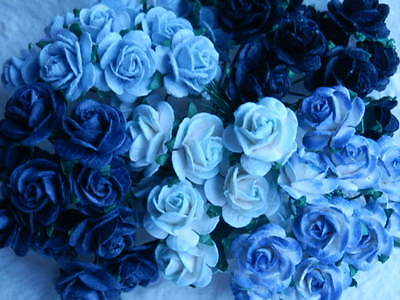 50x15mm MulberryPaper Roses MIXED BLUE MPRO15B Birthday Cardmaking Craft Supply