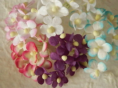 100x15mm Mulberry Paper FLOWERS MP3D3:: Cards WeddingStationery Doll House Party